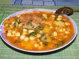 receta Garbanzos con bacalao y espinacas .