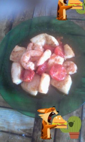 receta calamar con gambas picantes